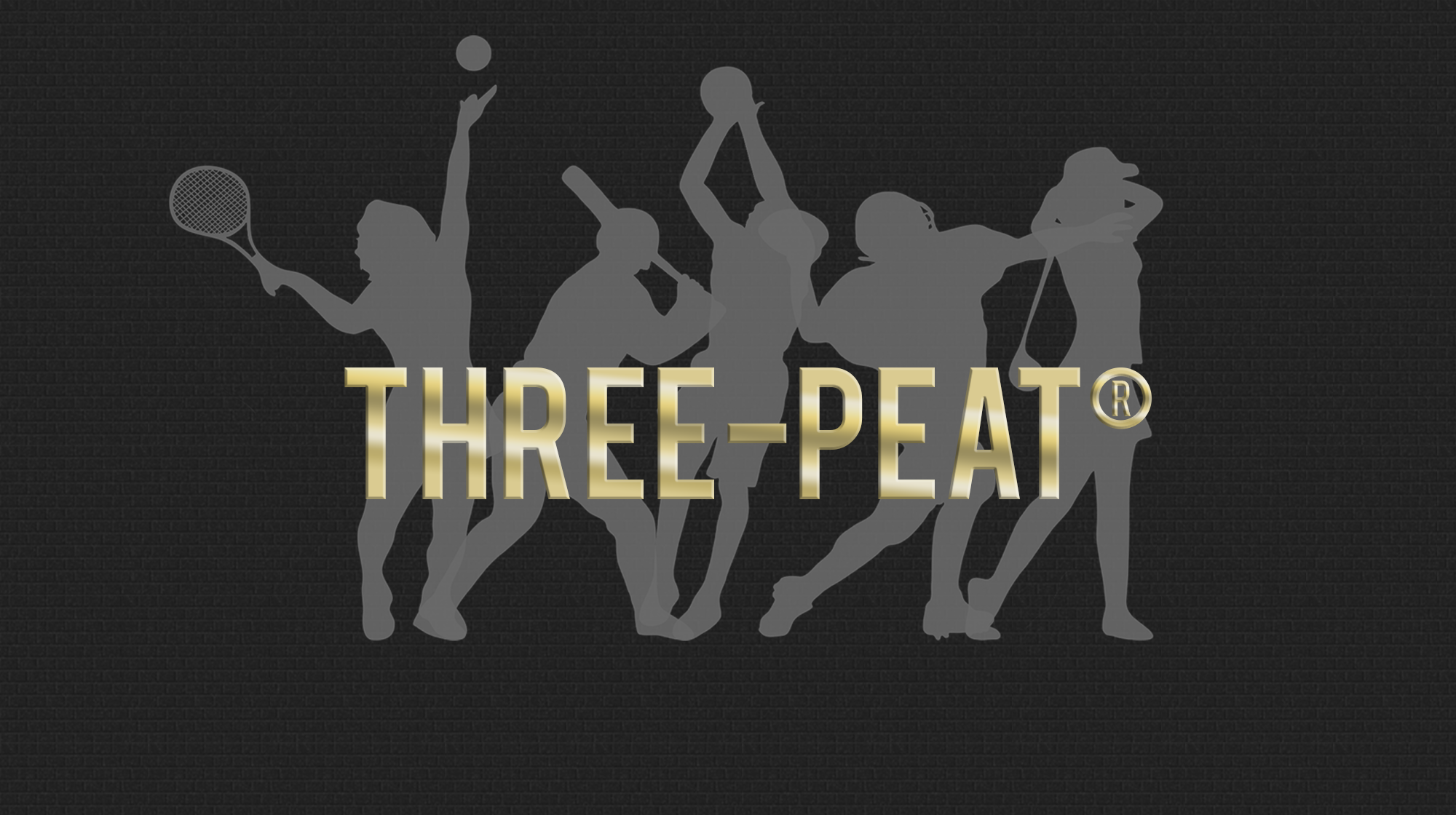 Three Peat text over silhouettes of tennis player, baseball player, basketball player, football player, and golfer.