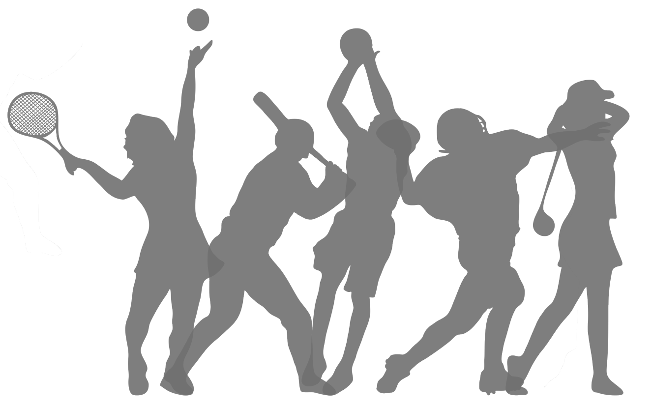 Silhouettes of a tennis player, baseball player, basketball player, football player, and golfer.